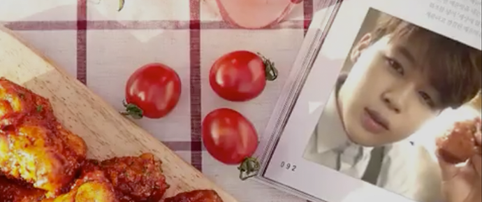 "🎥 Jimin para a campanha ""Olive mala hot chicken"" da BBQ Chicken"