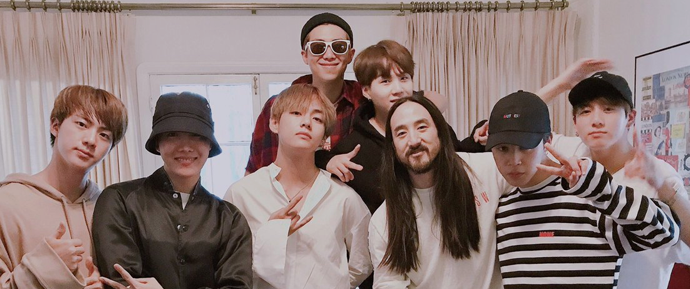 [NEWS] Colaboração do BTS com o músico Steve Aoki confirmada e em progresso