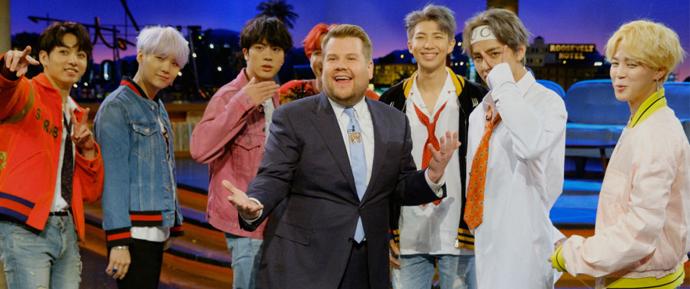 8 pessoas em um carro? James Corden quer o BTS no Carpool Karaoke!