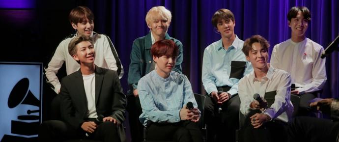 Perguntas e respostas com o BTS no Museu do Grammy