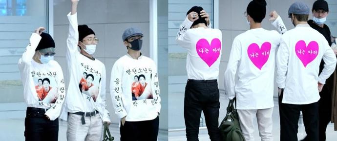 BTS volta à Coreia do Sul usando roupas chamativas