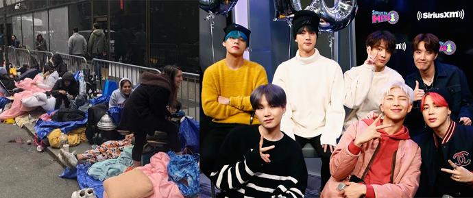 ARMYs acampam no estúdio do Saturday Night Live para ver o BTS (e ganham até pizza!)