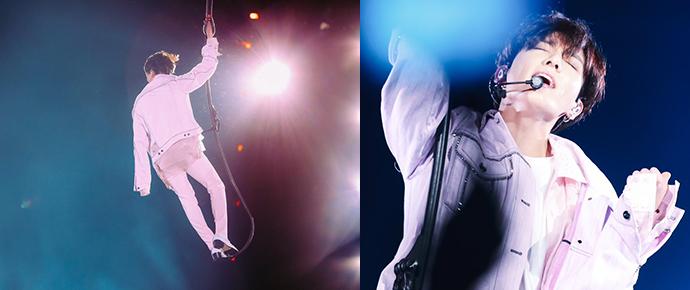 Um verdadeiro anjo: JungKook está literalmente voando nos shows