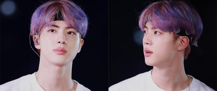 Jin pintou o cabelo de roxo e fez milhares de ARMYs se apaixonarem novamente 💜