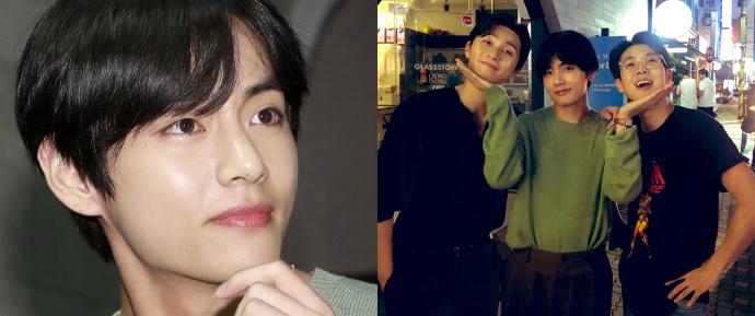 V faz surpresa e demonstra apoio aos seus hyungs Park Seo Joon e Choi Woo Shik! 💕