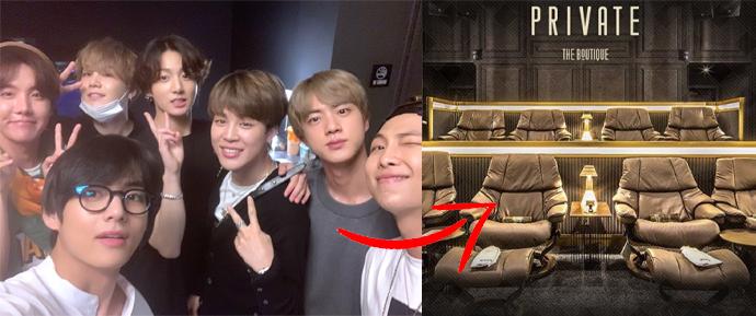 O BTS assistiu 'Bring The Soul: The Movie' numa sala de cinema chiquérrima! 🍸