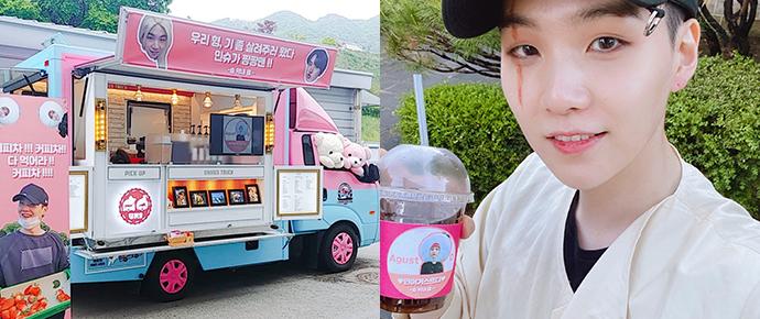 J-Hope enviou um coffee truck para apoiar o SUGA no set de filmagem de 'Daechwita' 😍