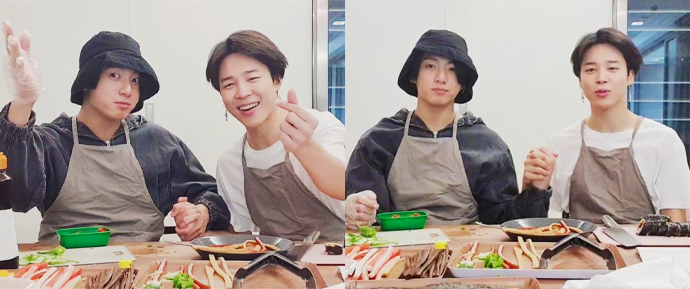 [V APP] 21.06.20 – Jimin & JungKook (Hoje nós somos chefs de kimbap)